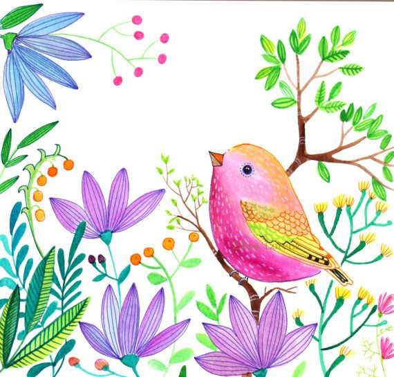 Pink Bird Purple Flowers Illustration Nursery Living Room Wall Art. It Is A  Beautiful Floral