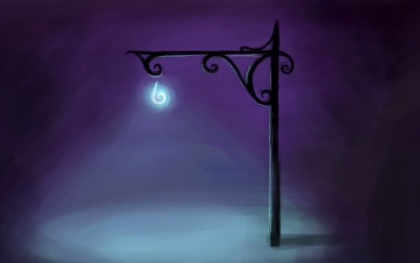 Обои картинки фото рисунок, зарисовка, фонарь, ночь