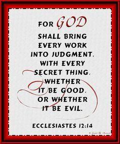 ecclesiastes 12:14 KJV Bible - Google Search