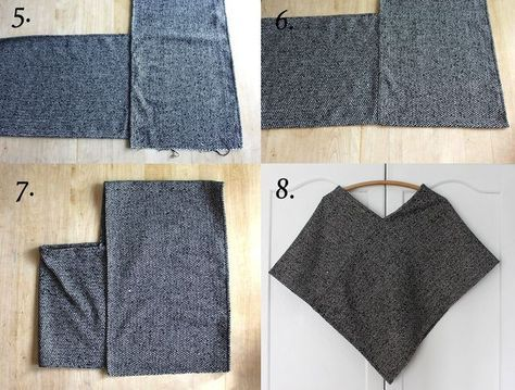 Wool Poncho DIY: This is probably the easiest poncho you'll ever make that you'll actually wear more than once. It's made from a thick woven wool in a graphic herringbone print. All you need to be able to do to sew your own is cut and sew in straight lines. Easy!