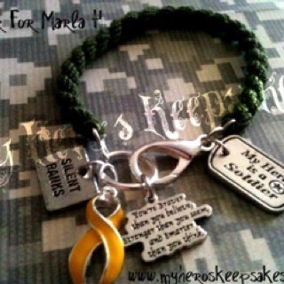 Army Wife, Army Girlfriend - Military Jewelry - OD Green *Boot Band Bracelet with Clasp* Includes: Silent Ranks,Yellow Support Ribbon,Braver than You, My Hero is a Soldier Charms -Item hand made by me- Retail $11.50 plus shipping - www.myheroskeepsakes.com -Follow Me on Facebook- www.facebook.com/myheroskeepsakes