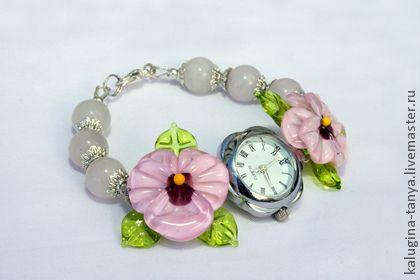 """Часы наручные женские с лэмпворком """"Анютки"""" розовые - часы,лэмпворк,авторский лэмпворк"""