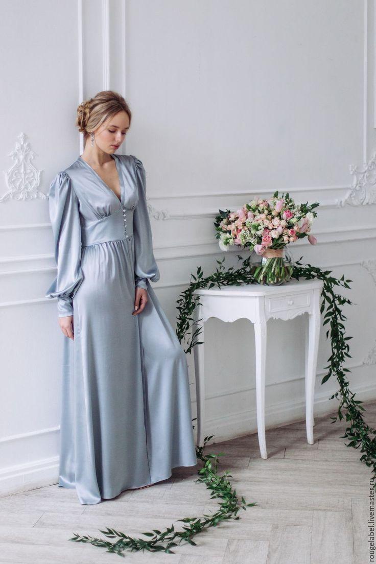 Купить Шелковый пеньюар (халат) - голубой, халат, пеньюар, невеста, свадьба, свадебные аксессуары, девичник
