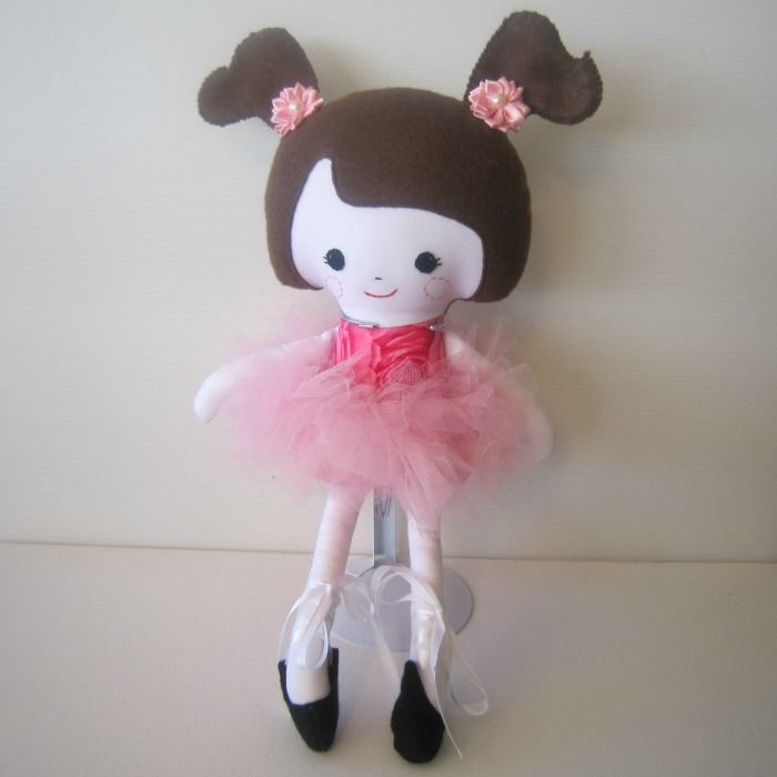 Brown Hair Ballerina Soft Doll | Chelle Belle | madeit.com.au
