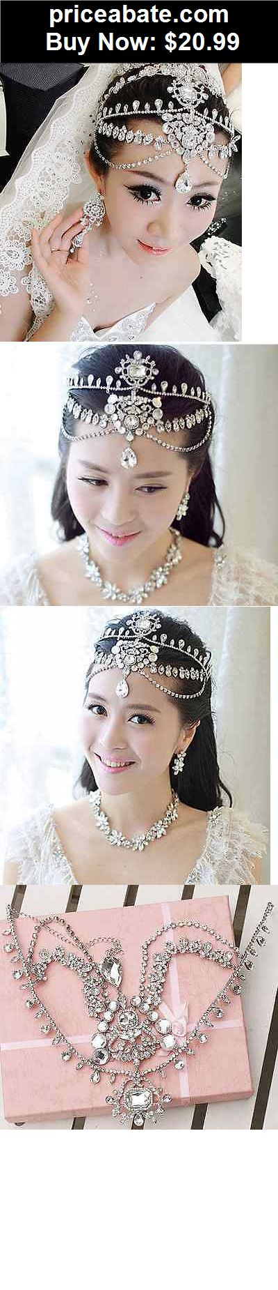 Bridal-Accessories: Bridal Wedding Chain Rhinestone Crystal Hair Tiara Dangle Crown Headpiece -CA - BUY IT NOW ONLY $20.99