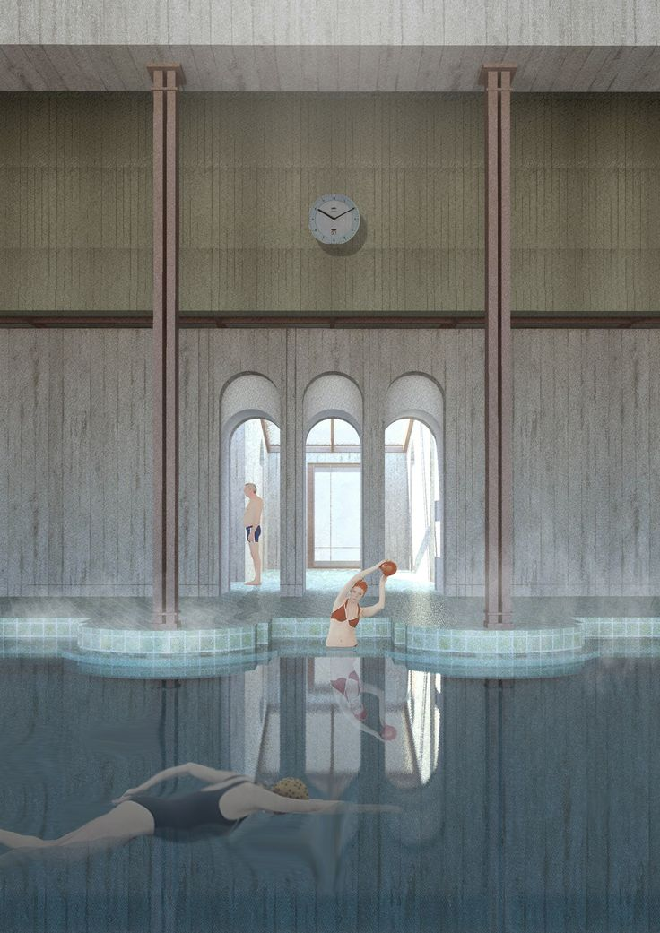 Frigidarium Lost Mariner swimming pool by Deimante Bazyte The Royal Academy of Fine Arts School of Architecture 2017 architecture illustration architecturestudent render submission