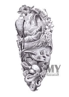 sleeve tattoo designs drawings on paper - Google Search