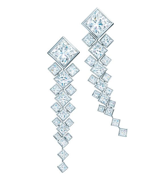 The Masterpiece princess-cut diamond earrings, by Tiffany & Co.