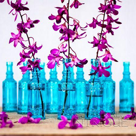 Set of 12 Small Turquoise Blue Vintage Glass Bottles (cylinder design)