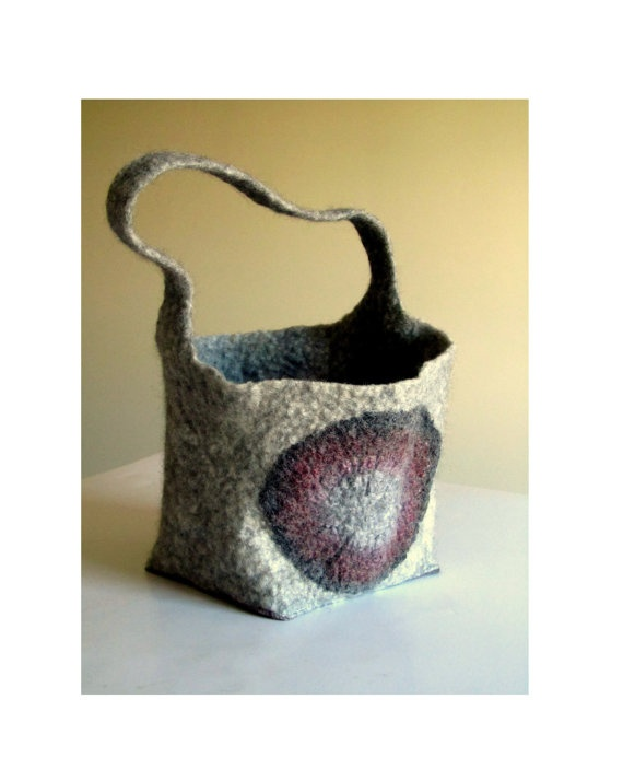 Wet Felted Bag Handmade On Etsy Small Hand Felted Tote By