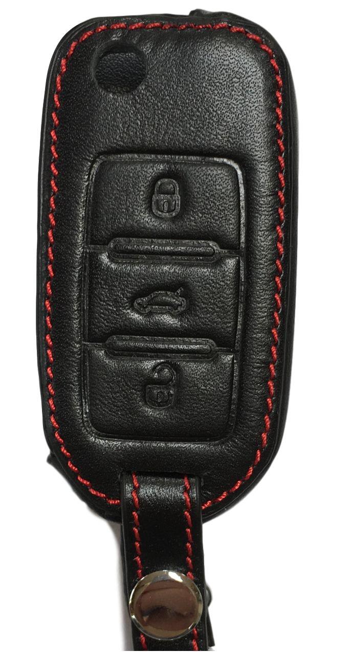Schlüsselhülle Ledertasche Etui Bag Case für Volkswagen VW Golf Polo Jetta Eos Scirocco Fox Beetle Touran Touraeg Sharan UP Caddy Amarok T5 T6 Caddy Crafter - Tolles Zubehör - Schlüsselanhänger