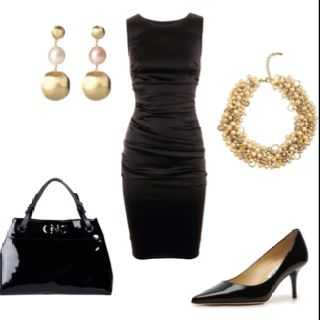 "Little Black Dress~  This is the ""perfect"" little black dress!!  Classic. I would ditch the gold necklace and earrings for silver or white pearls."