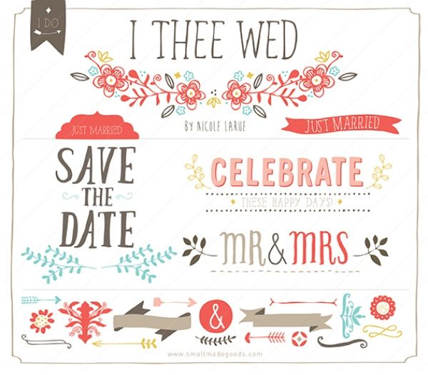 I Thee Wed (Clipart) - I Thee Wed wedding, save the date and celebration set! - again would make a super adorable blog design set