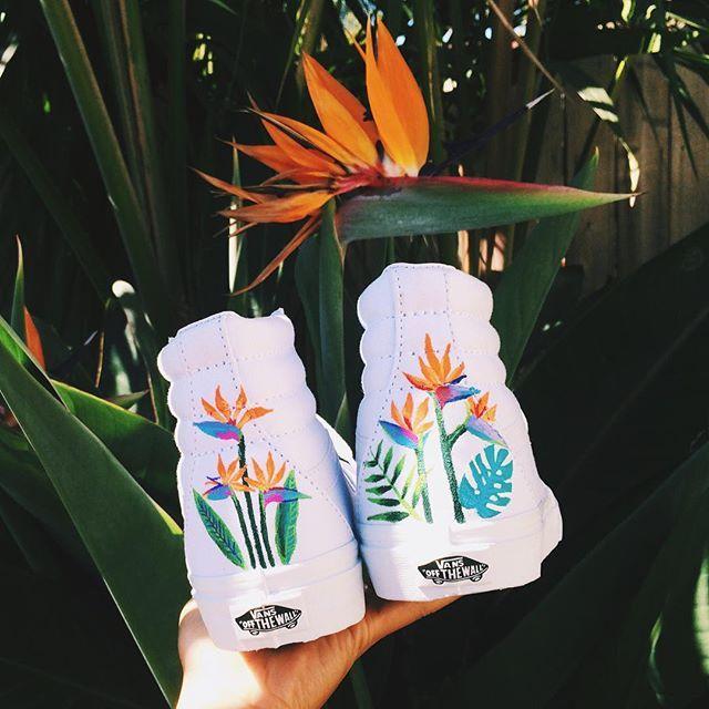 Paradise on your feet.  Hand painted Sk8-Hi's bynotoriousb.e.v