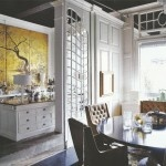 Incredible kitchen. Wood counter + painted screen + glossy lampWood Counter, Painting Screens, Future Perfect, Dreams House, Secret Studios, Glossy Lamps, Interesting Interiors, Incredibles Kitchens