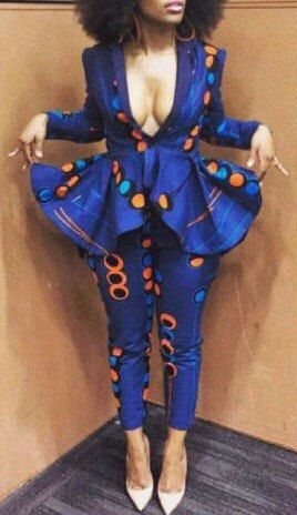 NuVu Jacket with peplum and Pants, african jumpsuit, ~African fashion, Ankara, kitenge, African women dresses, African prints, African men's fashion, Nigerian style, Ghanaian fashion ~DKK