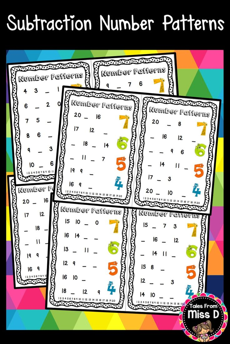 These 10 Subtraction Number Patterns Worksheets are great practice for learning about number patters.  Each page contains:  6 number patterns One or more missing numbers A number line for student reference Numbers range from 0 up to 20. © Tales From Miss D