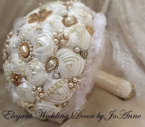 VINTAGE GOLD Jeweled Bouquet Custom Vintage by Elegantweddingdecor
