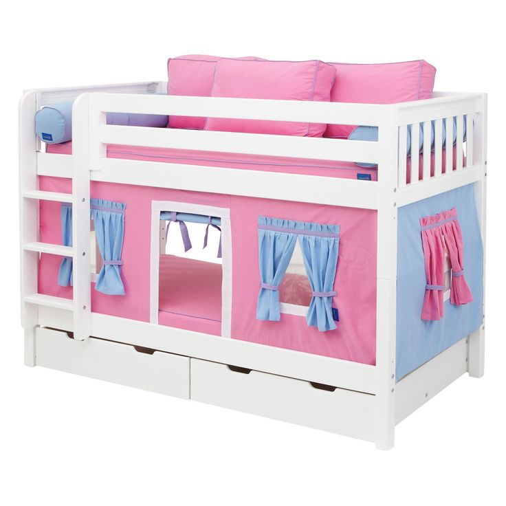 hot shot girl twin over twin tent bunk bed - Kids Trundle Beds