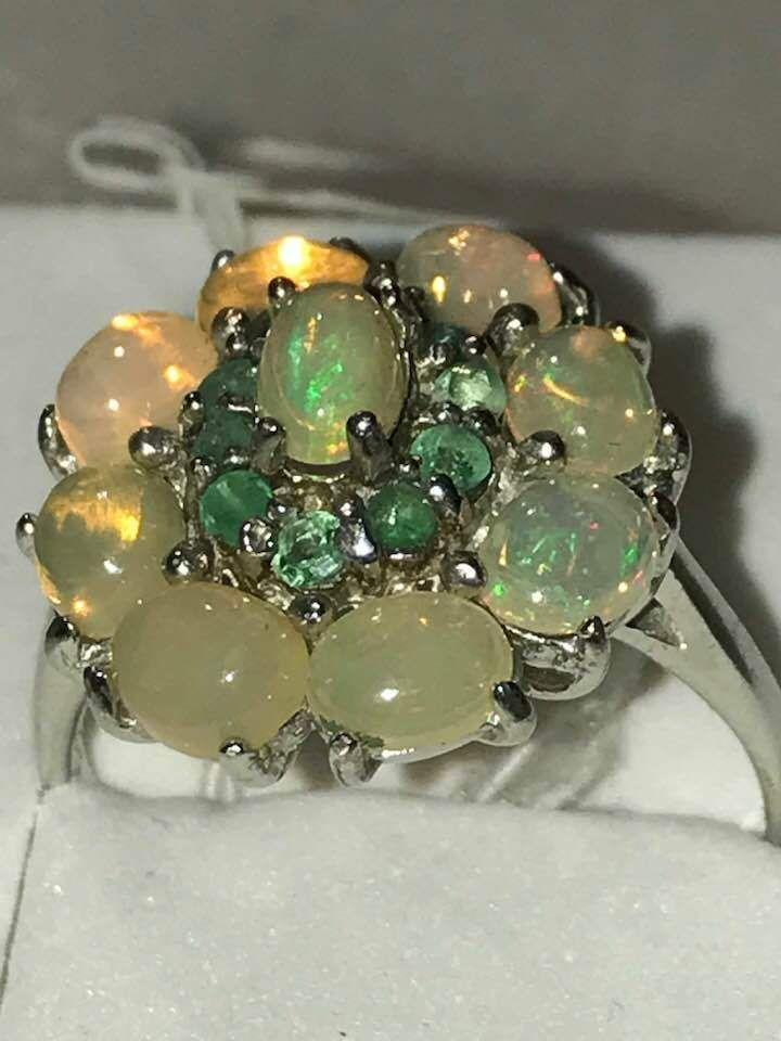 New 925 Silver TOP GEM Ethiopia Welo Fire Opal Emerald Ring 8