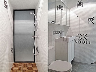 Hong Kong Apartment With Space Invaders Bathroom By OneByNine   Design Milk