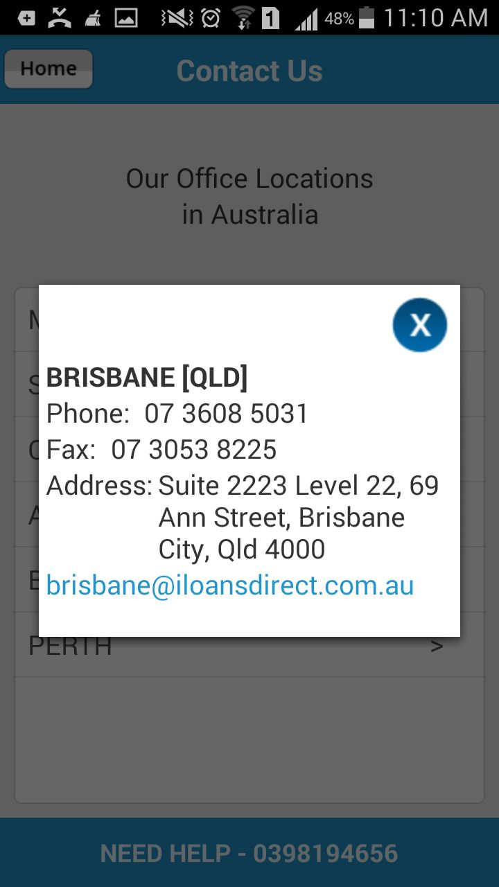 Get updated contact information about #LoansDirect Brisbane office through #LoansCalculatorForAustralia mobile app.
