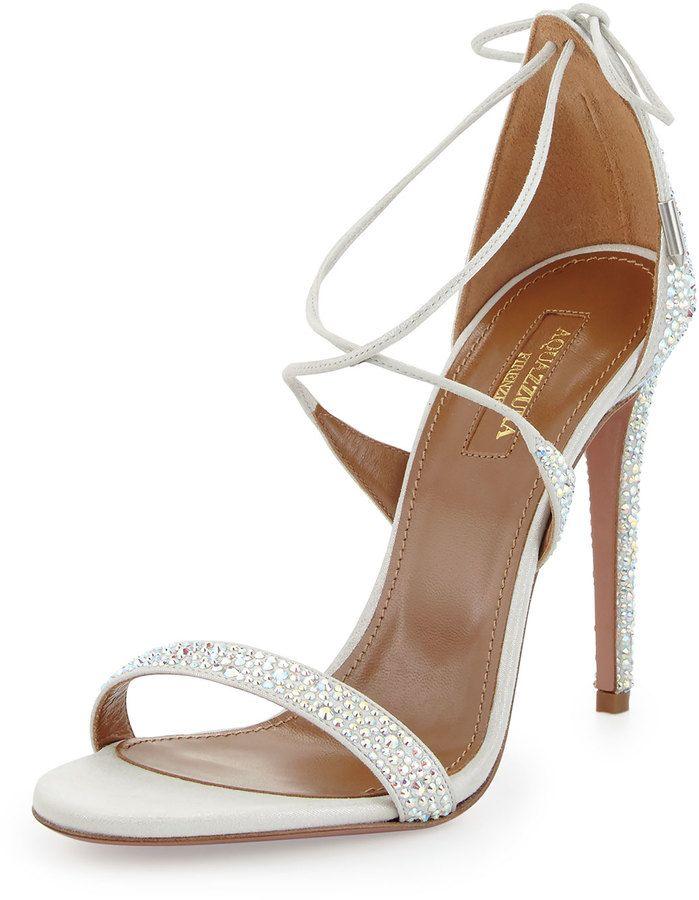 Aquazzura Linda Crystal-Embellished Sandal, Silver
