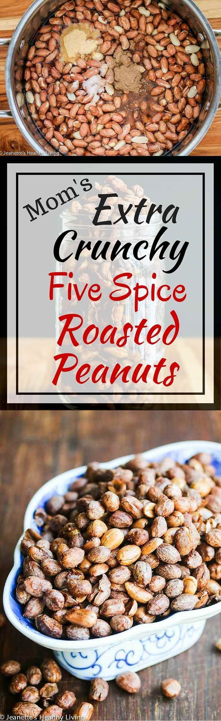 Mom's Extra Crunchy Five Spice Roasted Peanuts - my mom has perfected this recipe over the years and handed it down to me. The trick is to cook the peanuts first in a five spice scented liquid, then slow roast them.