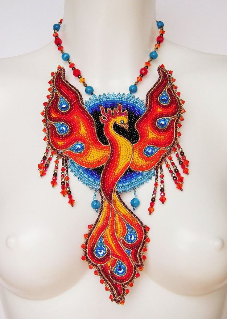 Bead embroidery necklace 11 - Phoenix by Priscillascreations