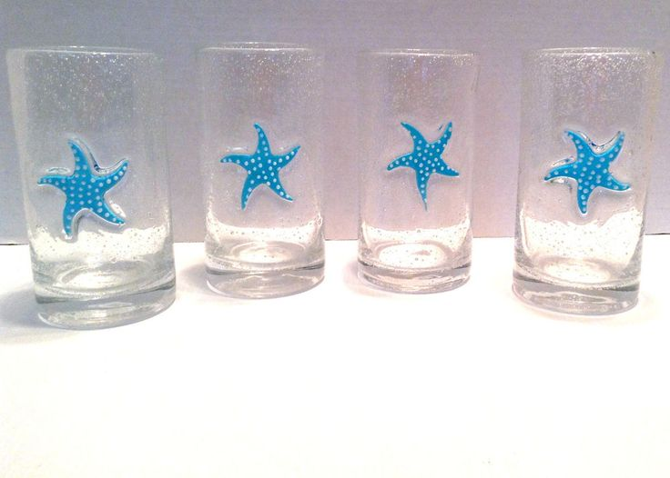 Turquoise Polka Dot Starfish Drinking Bubble Glasses
