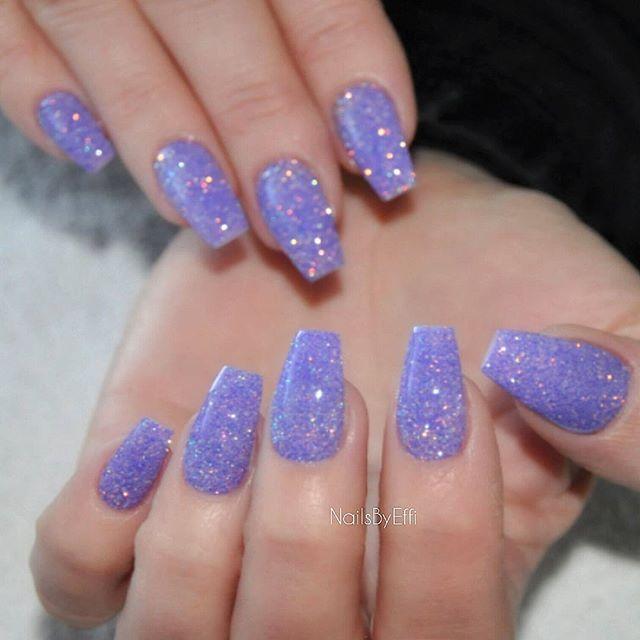 purple glitter nails ideas
