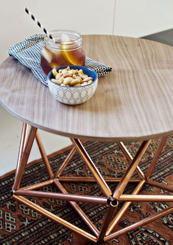 Diy side table with himmeli base from copper pipe copper for Table y copper tube