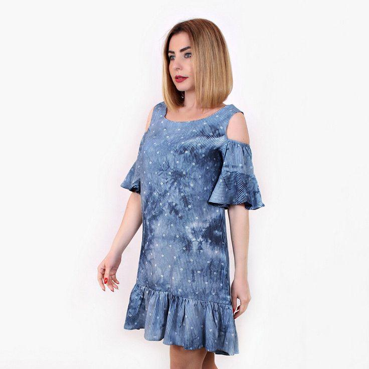 Ybenlow Women Dresses 2017 Casual Gradient Sky Color Star Printing Loose Half Ruffles Flare Sleeve O-Neck Mini Summer Dress