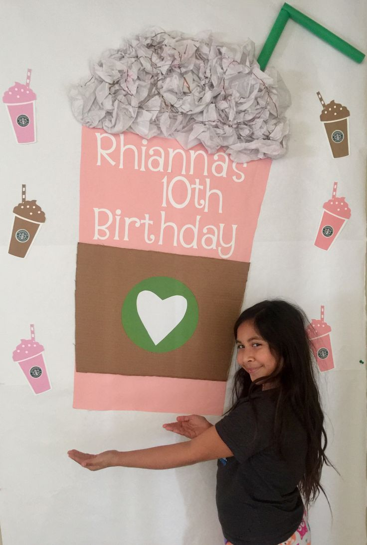"Made a giant strawberry frappe for my daughters 10th Birthday Party! This will make a great backdrop for photos! Used my Cricut and cartridge ""Love you a latte"" for the smaller frappe's. Made the Starbucks sticker logos in photoshop."