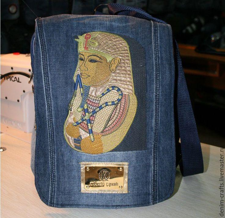 Купить Стильная сумка-рюкзак - ФАРАОН - из джинсы своими руками - джинсовый стиль, джинса