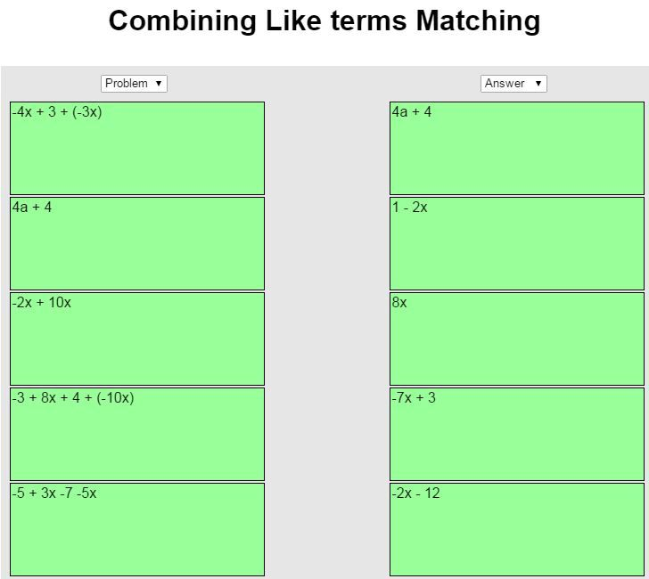 Matching game finding equivalent expressions after combining like ...