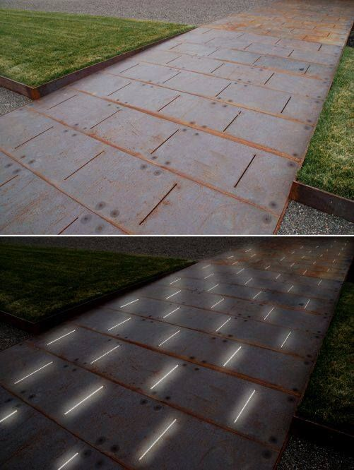 Paving Detail of COR-TEN ramp - LED lighting glows from below Photo: Andrea Cochran Landscape Architecture.