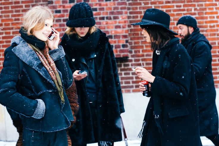 NYFW models off duty are giving monochromatic vibes for snowy Paris.
