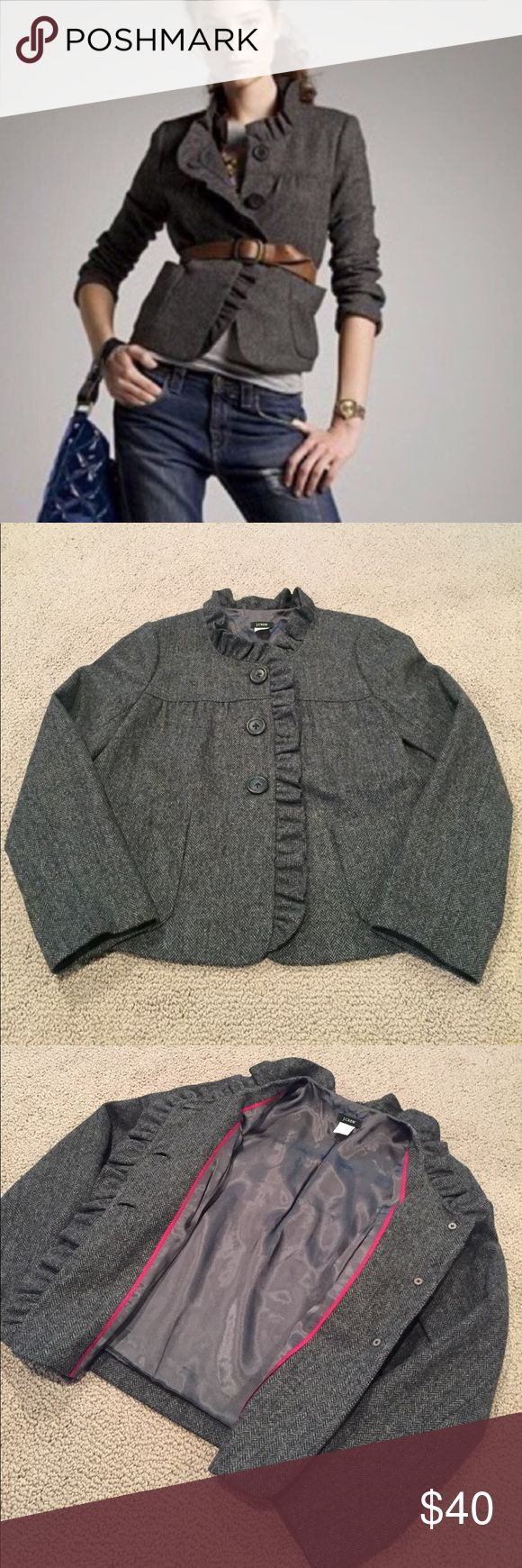 J. Crew Fiona Ruffle Harringbone Wool Jacket The cutest harringbone, 100% wool coat you ever did see! Coat for sale is gray and black version. Lined with ruffle detail around the neck and front. Button front along with pockets above the hem. Classic and so cute. Like new! J. Crew Jackets & Coats