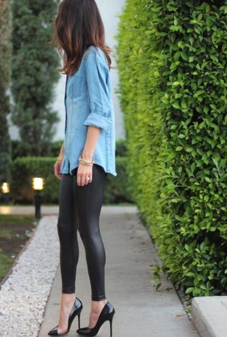 Conjunto camisa tejana y leggings negros de cuero