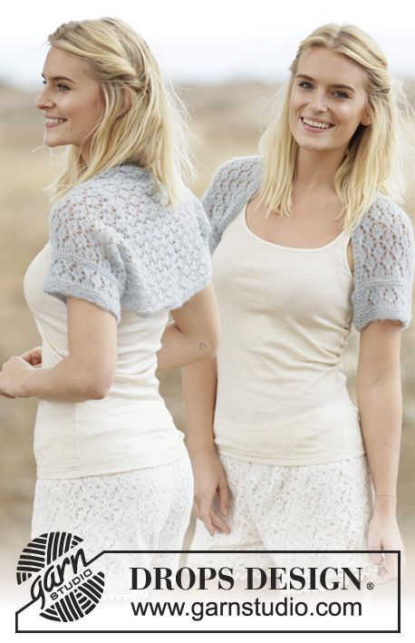"""Knitted DROPS shoulder piece in garter st with lace pattern in """"Brushed Alpaca Silk"""". Size S-XXXL. ~ DROPS Design"""