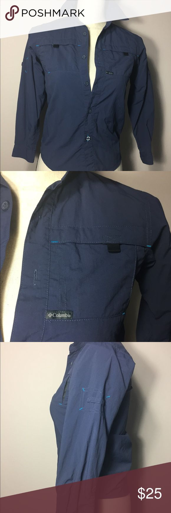 Columbia Blue Omni Shade 3/4 Sleeve Button down Columbia Blue Omni Shade 3/4 Sleeve Button down Shirt Sun protection Size Small Columbia Tops Button Down Shirts