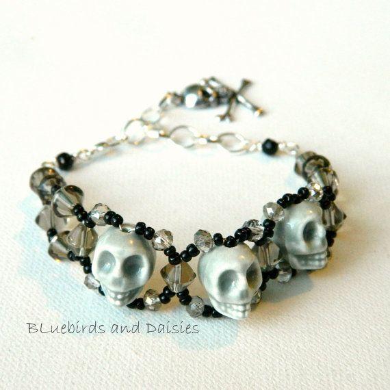 Grey Ceramic Skulls Bracelet by Bluebirdsanddaisies on Etsy, £10.00