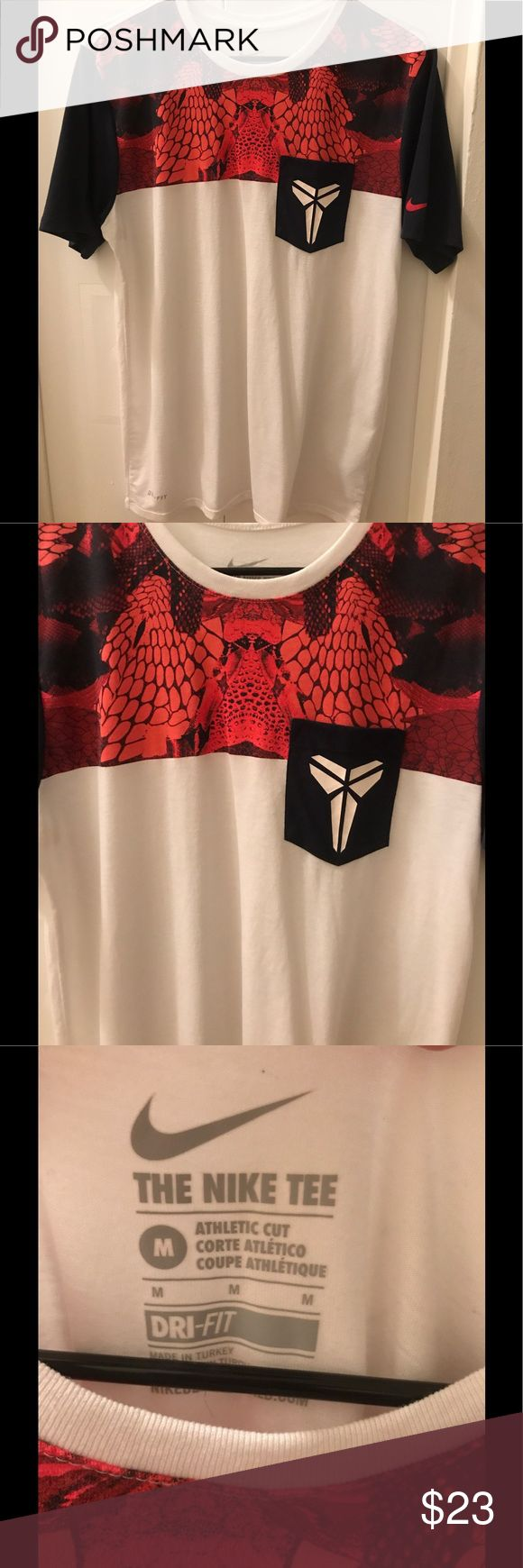 Men's Kobe T-Shirt Good condition! Men's size medium! White shirt with red and navy blue. Nike dri-fit brand. Kobe symbol on front. No trades please! Make me offers 🤗 Nike Shirts Tees - Short Sleeve