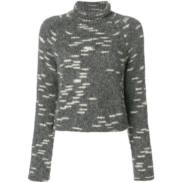 Carven cropped roll-neck jumper ($350) ❤ liked on Polyvore featuring tops, sweaters, grey, jumper crop top, gray top, roll neck sweater, grey top and cropped jumper
