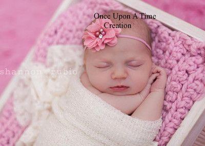 Blush Pink Chiffon Flower Pearl Newborn Headband Bow Baby Girl Hair Bow Hairbow   eBay