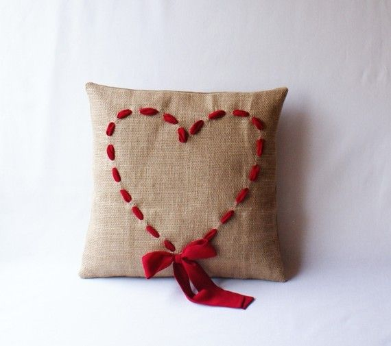 burlap valentine pillows