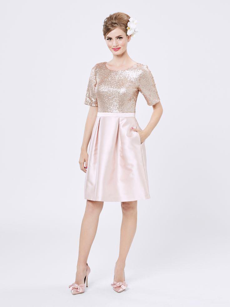 Glitterati Dress   Blush & Champagne   Sequin Dress