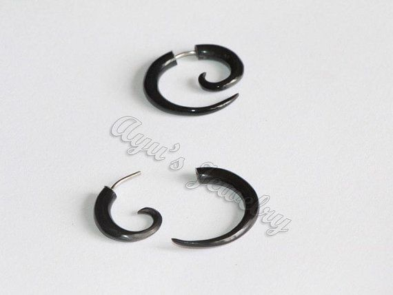 Black #Small #Spiral Tribal Fake Gauge Horn Earrings by ayujewelry, $7.50