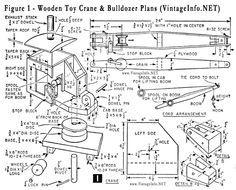 Wooden Toy Crane and Bulldozer